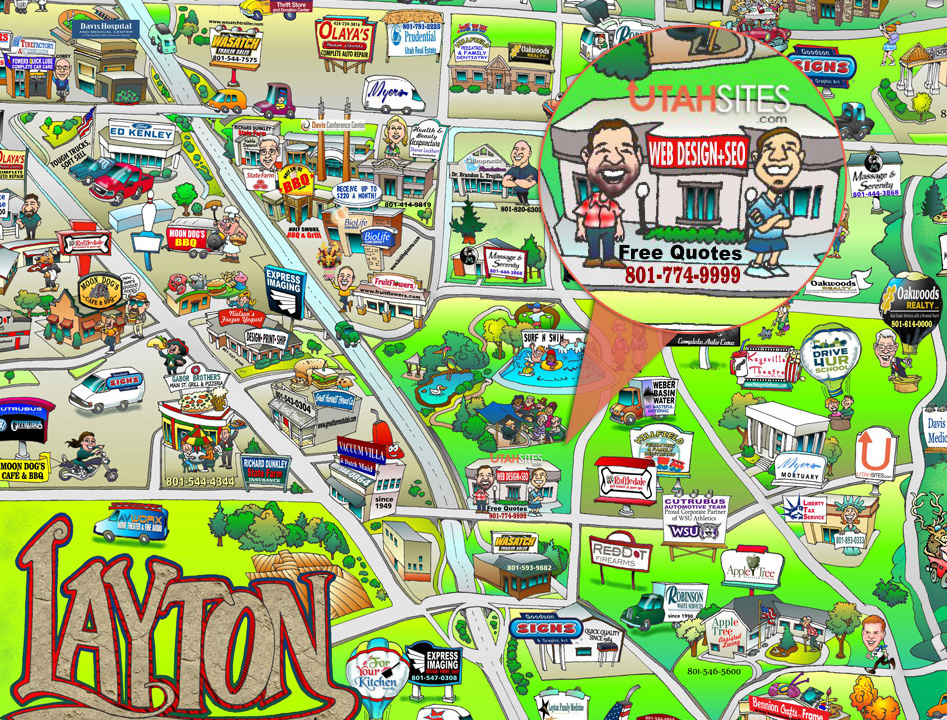 Utah Sites Participates In Layton Map as Cartoons