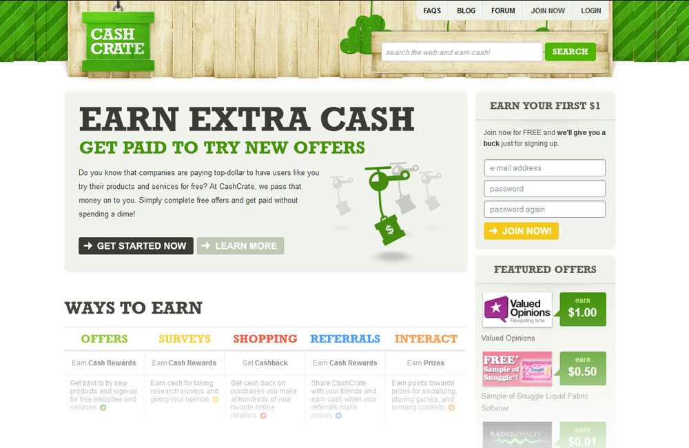 Cash Crate website design
