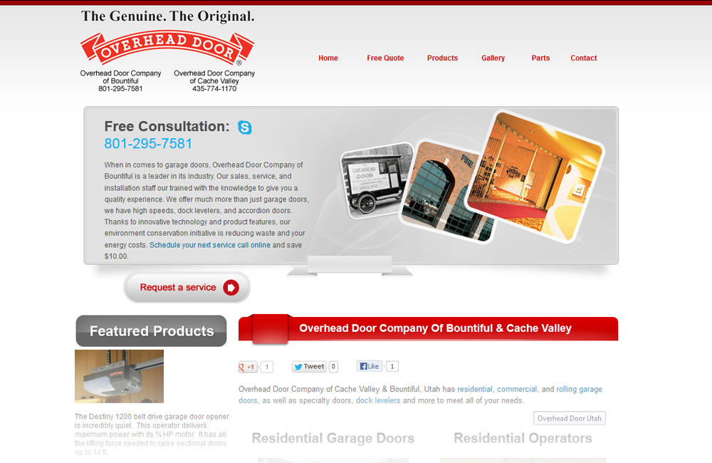 Overhead Door Company of Bountiful web design