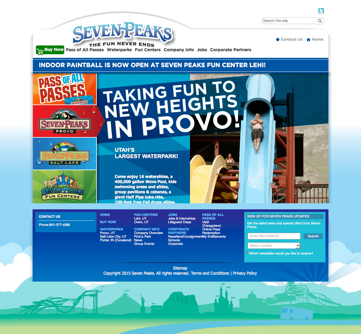 Seven Peaks website design before