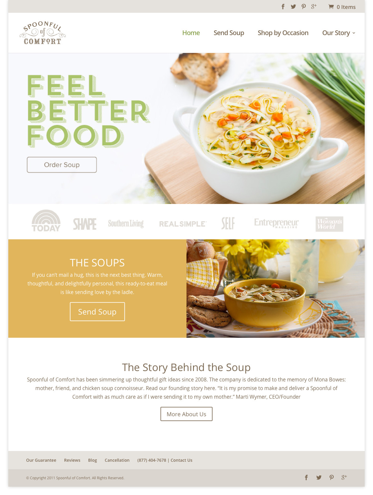 Spoonful of Comfort website design after