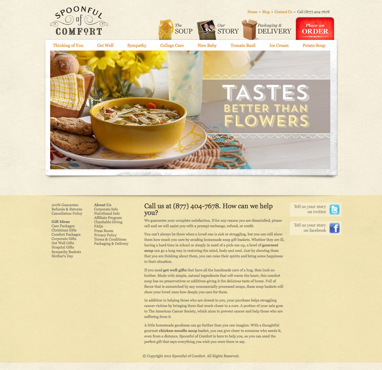 Spoonful of Comfort website design before