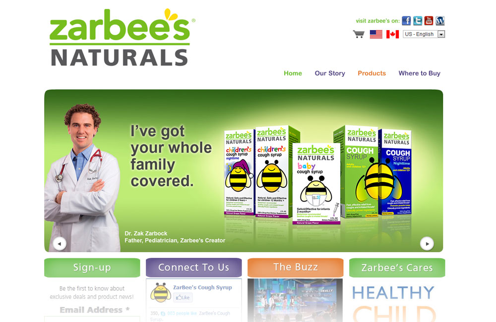 Zarbees website design