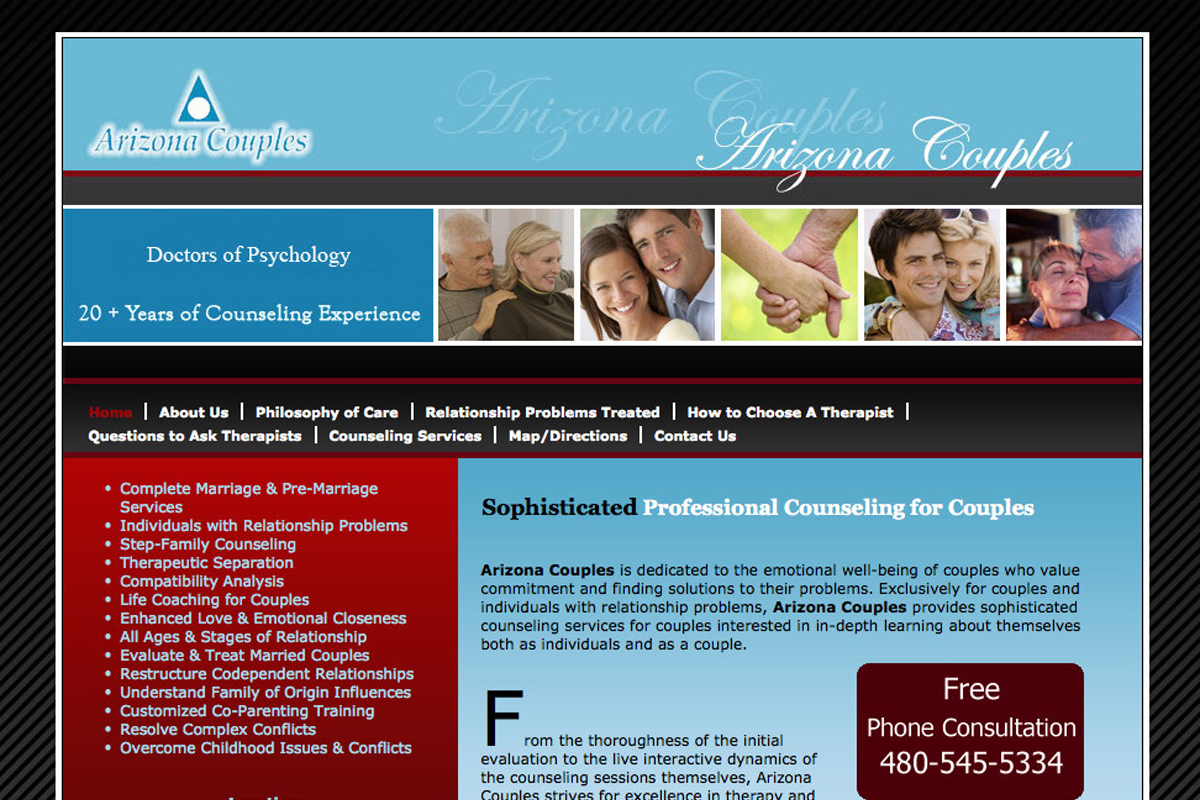 Arizona Couples website design before