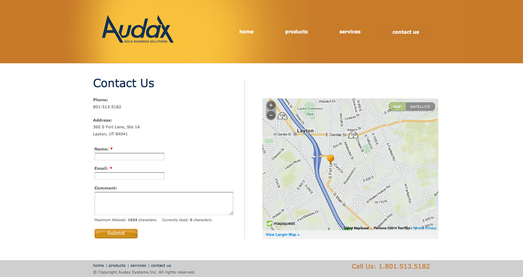 Audax website design before