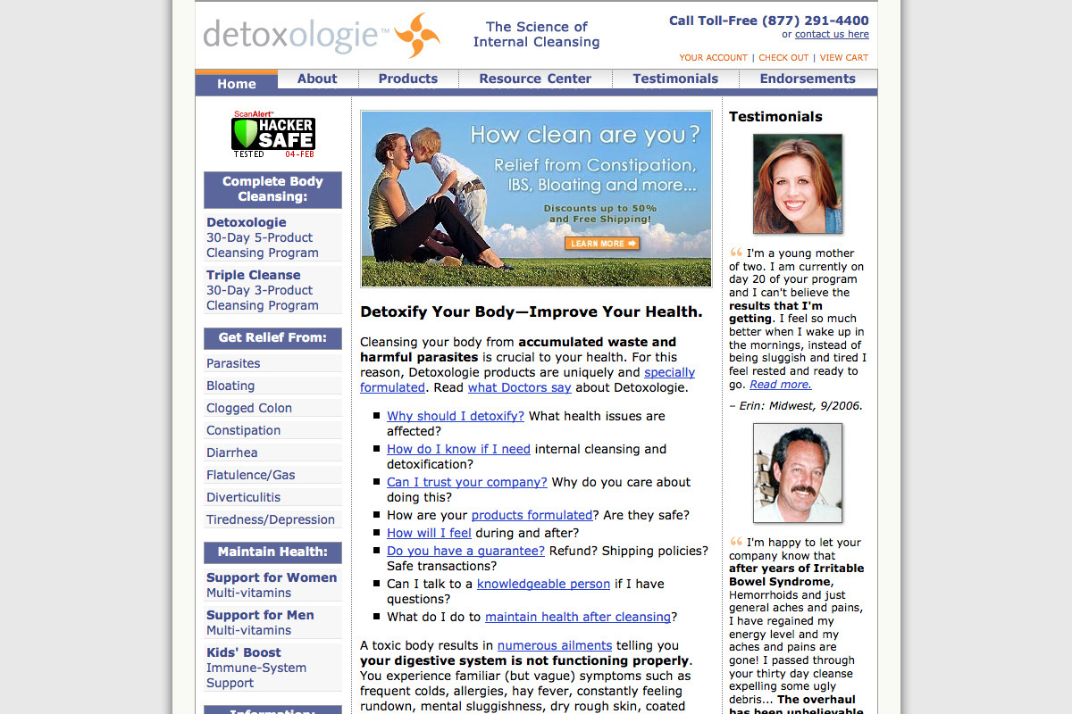 Detoxologie website design before