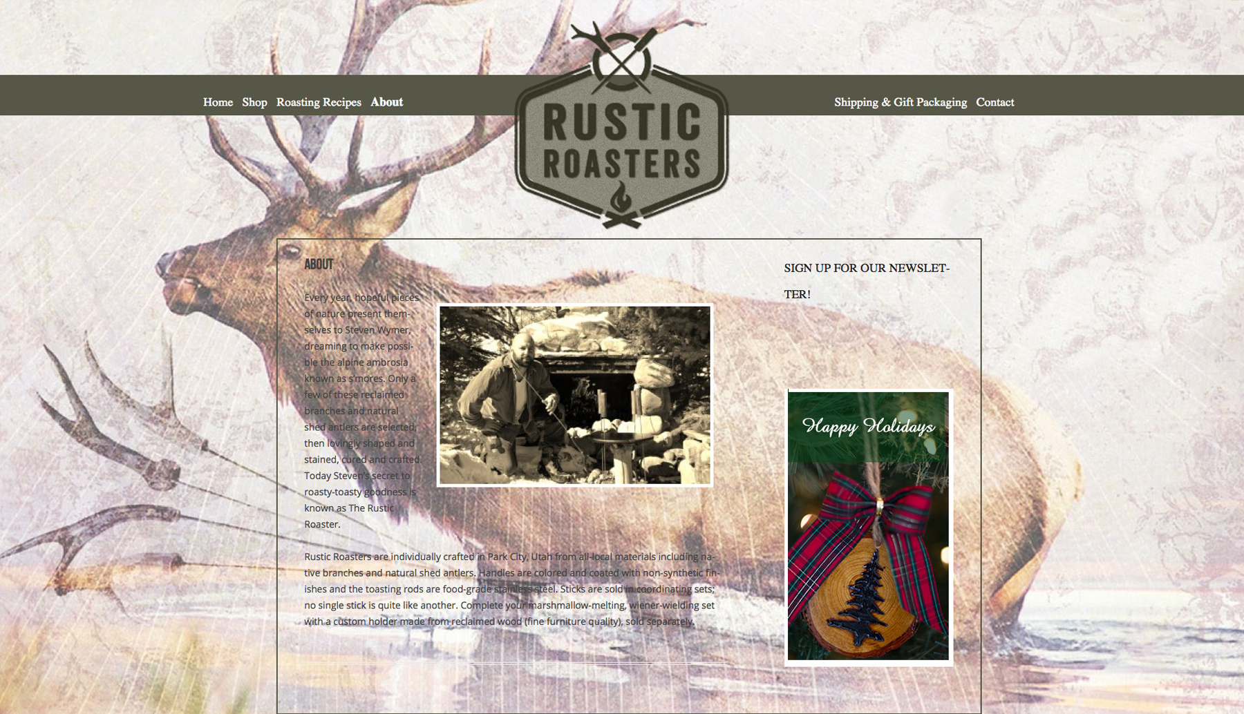 Rustic Roasters website design before