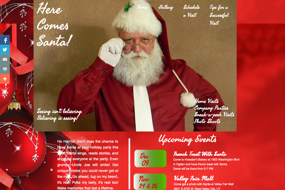 Santa website design before