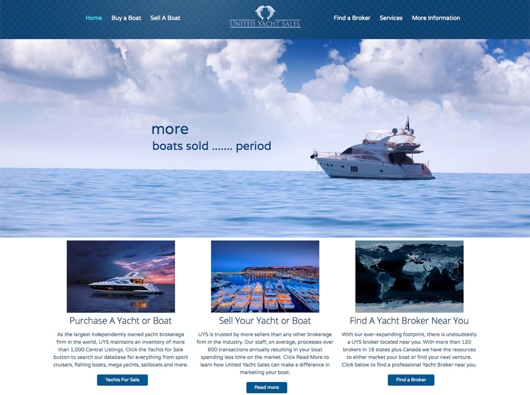 United Yacht website design