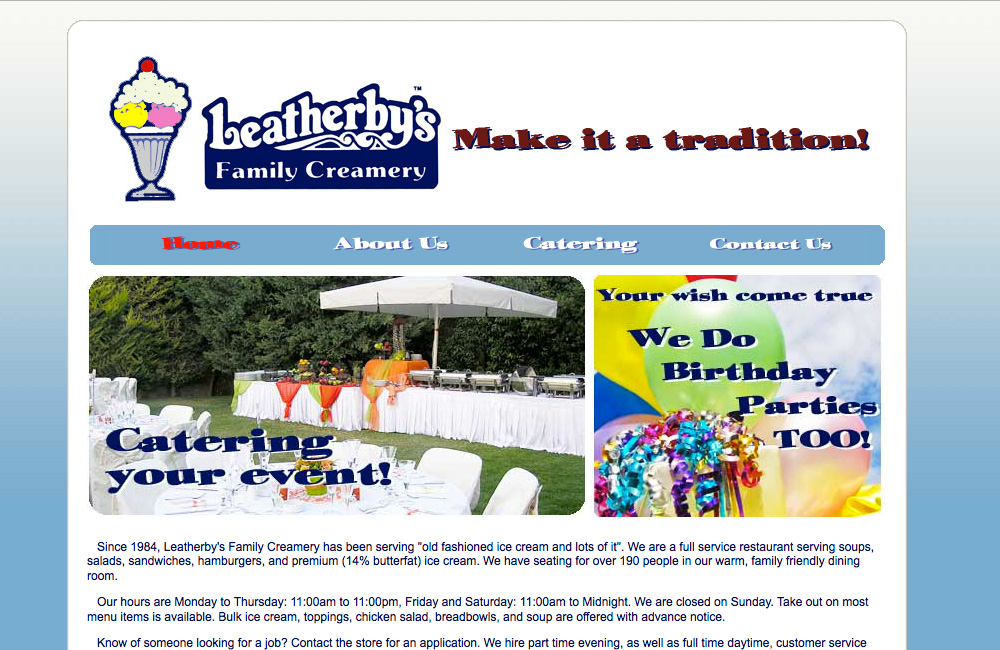 Leatherby's Ice Cream website design before