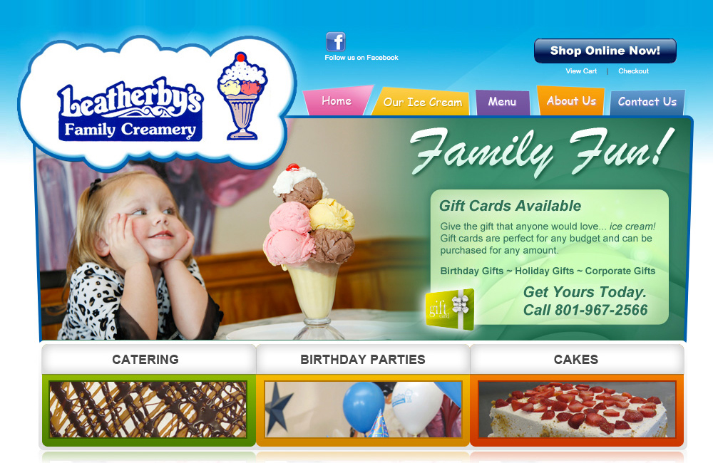 Leatherby's Ice Cream website design after