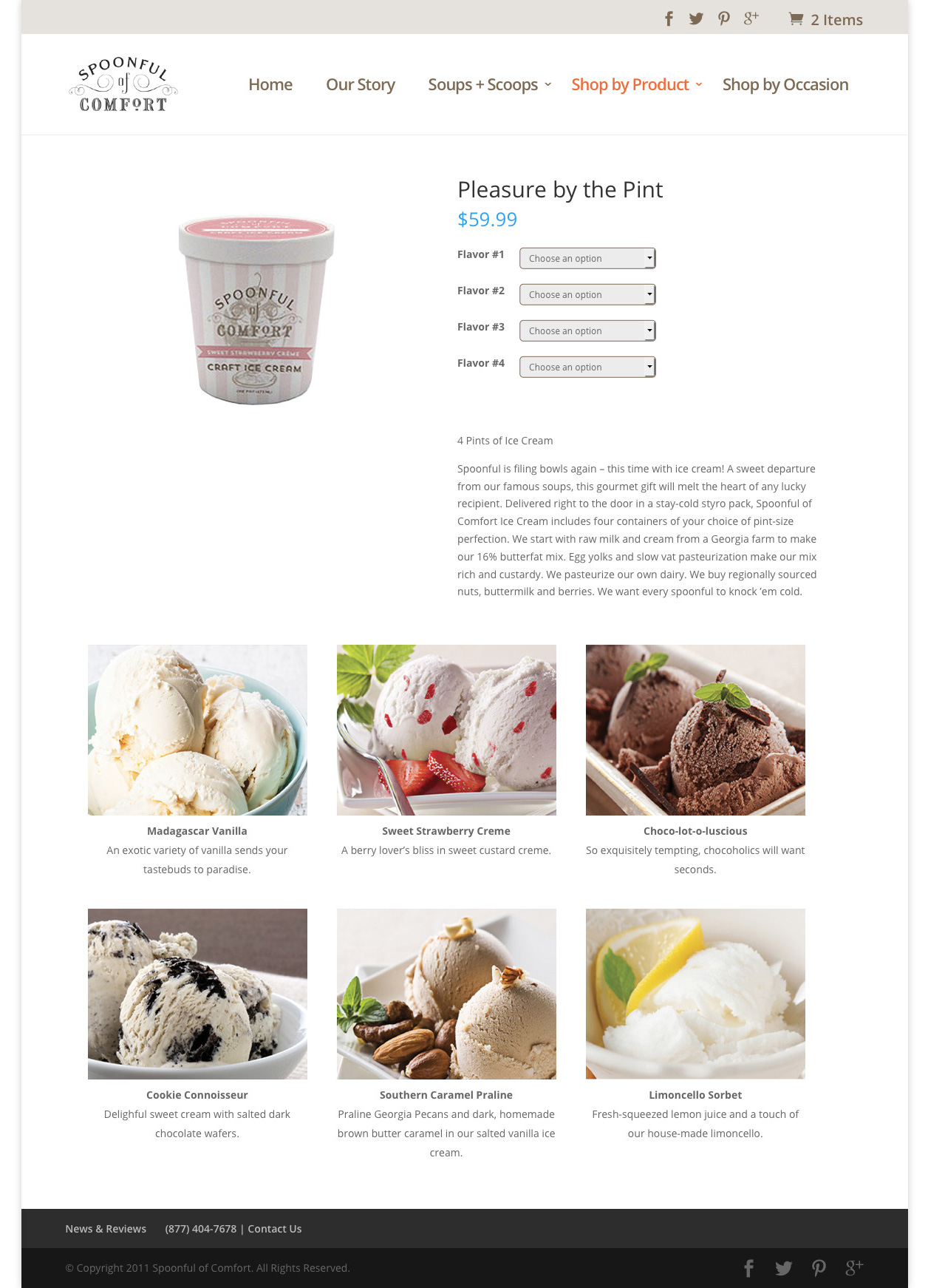 Ice cream product page design after