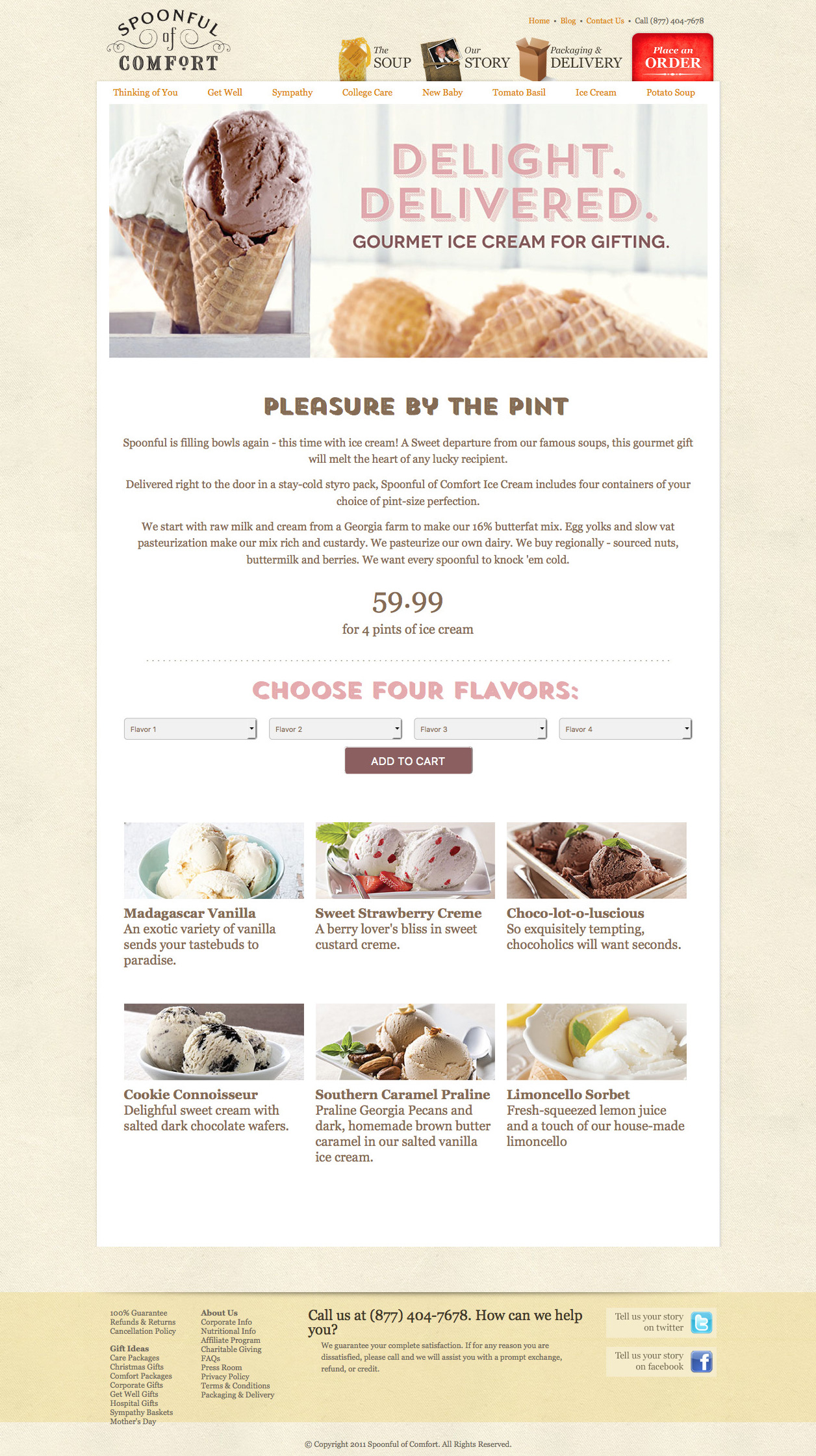 Ice cream product page design before