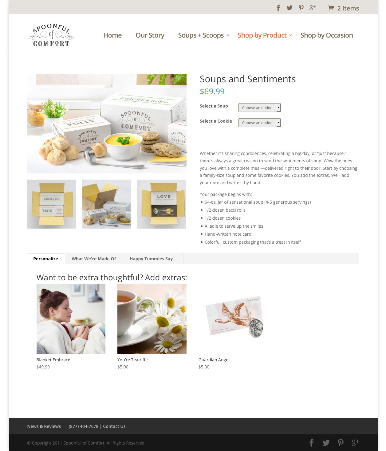 soup product page design after