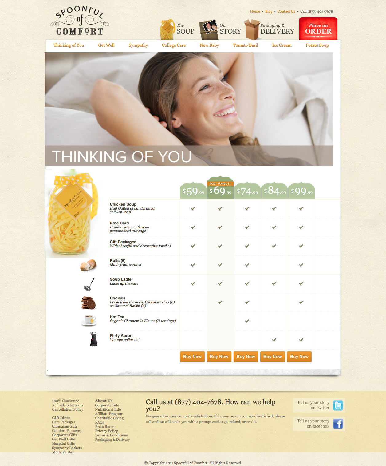 Soup product page design before